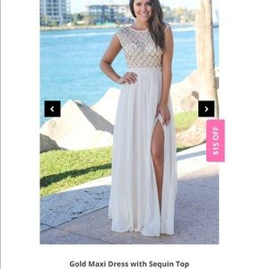 Maxi dress with gold sequin top